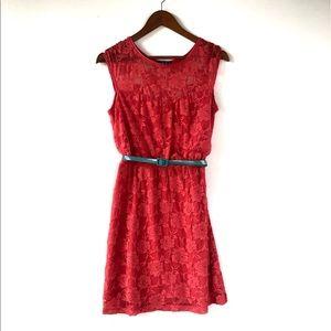 Paper Doll Dress- Floral Lace Coral Size M
